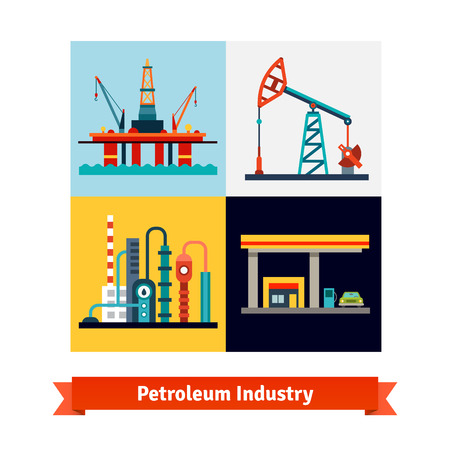 crude: Crude oil extraction, refining and selling business. Sea petroleum rig, pump, refinery and gas station. Flat style isolated vector illustration.
