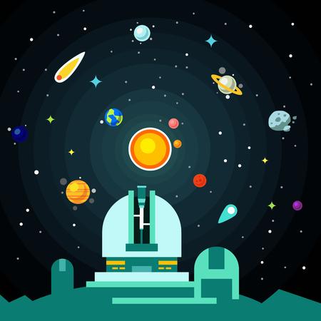 Estación Observatorio, sistema solar con planetas, cometas y asteroides en el cielo de la noche de estrellas. Ilustración vectorial de estilo Flat.