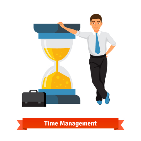 big timer: Time management concept. Businessman with briefcase in a tie leans on big half full sand hourglass. Flat style isolated vector illustration. Illustration