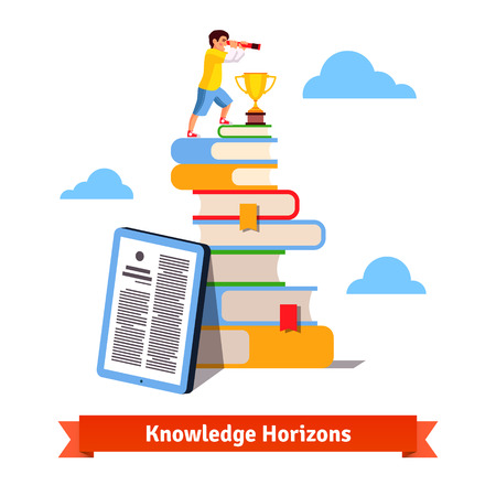 opportunity sign: Young man standing on mountain of books and looking for new horizons through spyglass. Standing on knowledge concept. Flat style isolated vector illustration.
