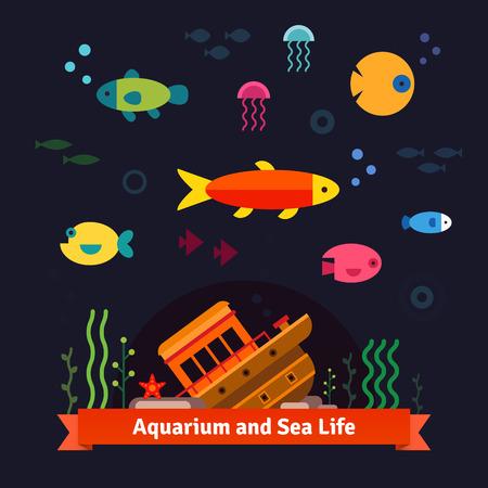 Underwater sea life. Aquarium. Flat style isolated vector illustration.