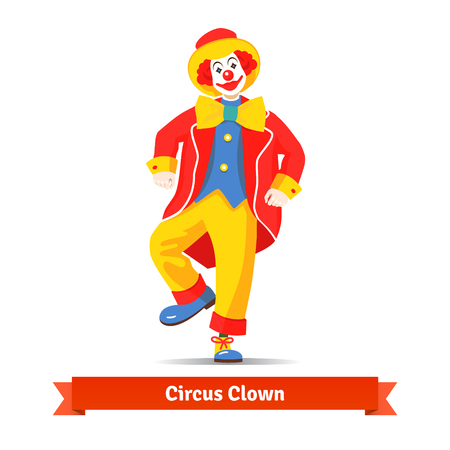 Dancing circus clown vector illustration isolated on white background. Ilustração