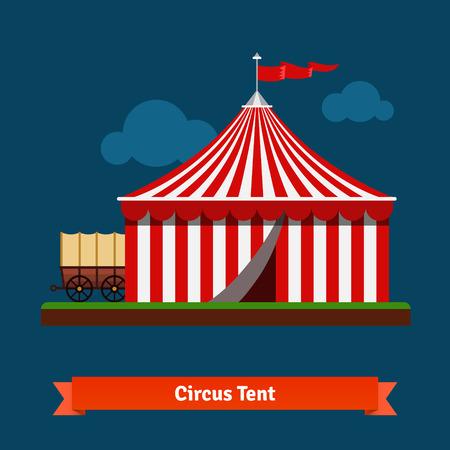circo: Abrir tienda rayas circo con rueda de carro en la parte trasera. Vector icon plana.