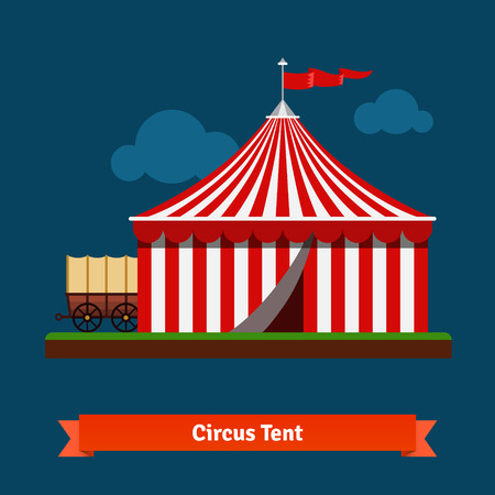 wagon wheel: Open circus striped tent with wagon wheel in the back. Flat vector icon. Illustration