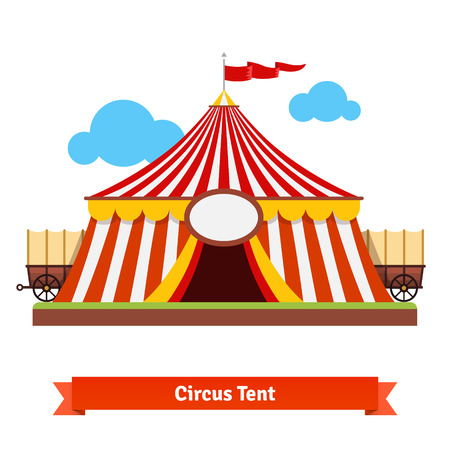 wagon wheel: Open circus tent with wagon wheel in the back. Flat vector illustration isolated on white.
