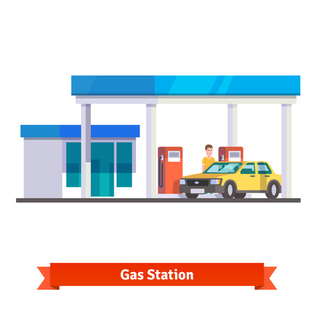 gas man: Gas station with man fuelling car. Flat vector illustration isolated on white background.