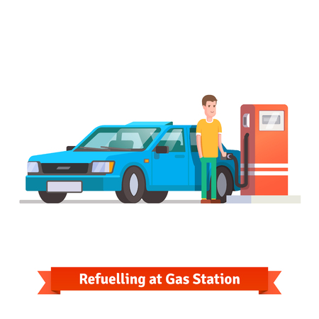 fuelling pump: Man refuelling his car holding fuel hose at petrol station. Flat vector illustration isolated on white background.