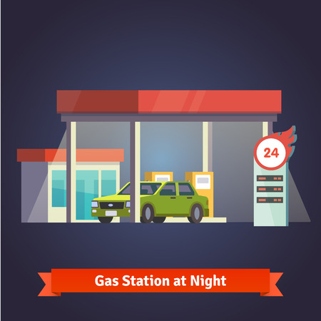 fuelling pump: Gas station glowing at night. With store and price board. Flat vector illustration.