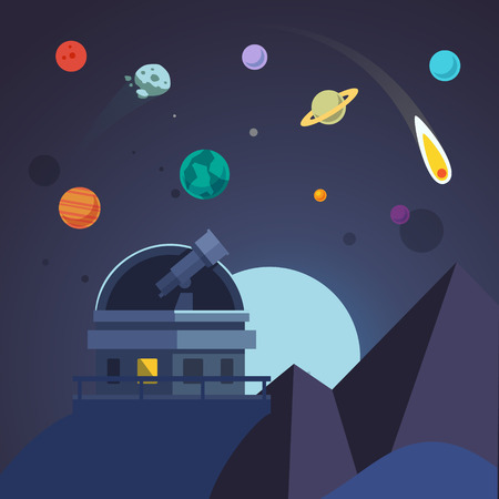 dome: Telescope sits in an open observatory dome. Flat vector illustration. Illustration