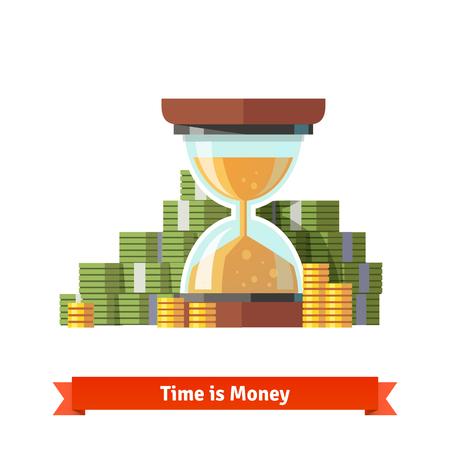 dollaro: Clessidra in un mucchio di banconote da un dollaro impilate e monete. Il tempo � il concetto di denaro. vettore icona piatto.