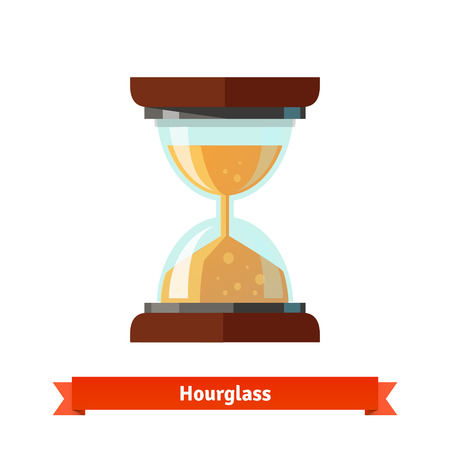 big timer: Hourglass icon and sand glass clock. Flat vector icon.