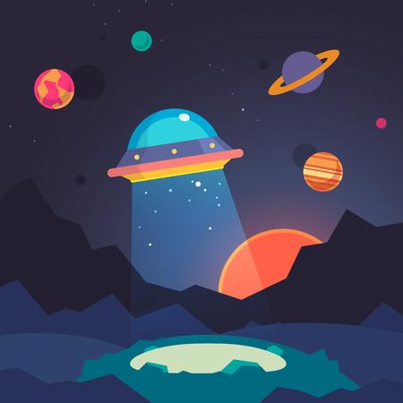 estrella caricatura: Noche alien paisaje mundial y nave espacial OVNI con haz de luz en el fondo del cielo estrellado. Ilustraci�n vectorial Flat.