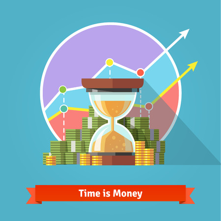 management concept: Hourglass in a pile of stacked dollar bills and coin. Time management concept. Flat vector illustration.
