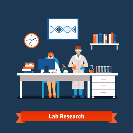 Two young chemistry scientists man and woman working in the lab with big table, desktop computer, test glass tubes, bottles and vials, books, microscope. Flat style isolated vector illustration.