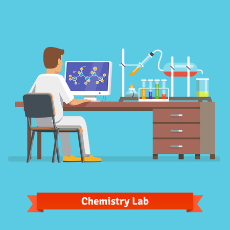 working man: Medical chemistry lab worker researching molecular structure of chemical compound received in experiment. Flat vector illustration.