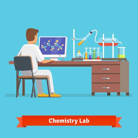 investigador cientifico: Trabajador de laboratorio de química médica que investiga la estructura molecular del compuesto químico recibió en el experimento. Ilustración vectorial Flat.