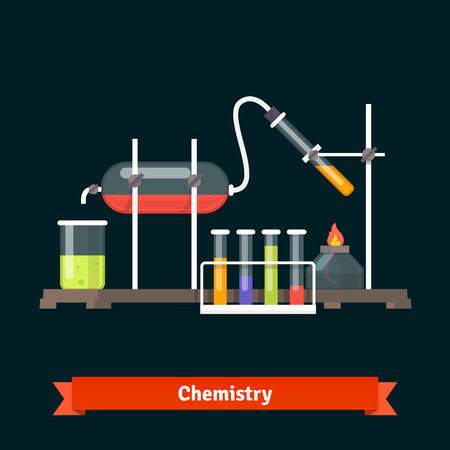 sediment: Chemical laboratory experiment and glassware. Flat vector icons. Illustration