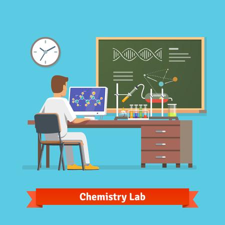 laboratorio: Estudiante de la Universidad hace la investigación en laboratorio de química. En cuanto a la estructura molecular del compuesto químico recibió en el experimento. Ilustración vectorial Flat.