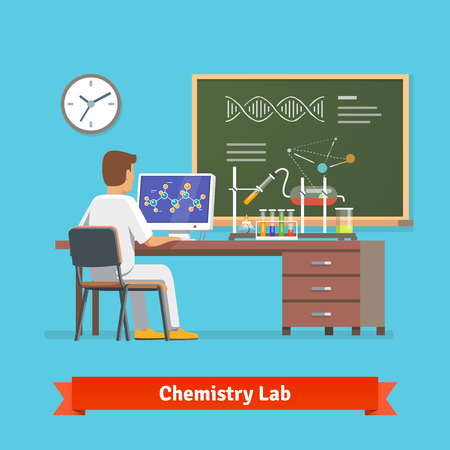 science lab: University student doing research in chemistry lab. Looking at molecular structure of chemical compound received in experiment. Flat vector illustration.