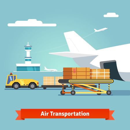 Loading boxes to a preparing to flight aircraft with platform of air freight. Air cargo transportation concept. Flat style illustration. Vettoriali