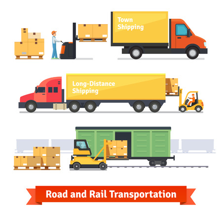 railroad transportation: Cargo transportation by road and train. Workers loading and unloading trucks and rail car with forklifts. Flat style icons and illustration.