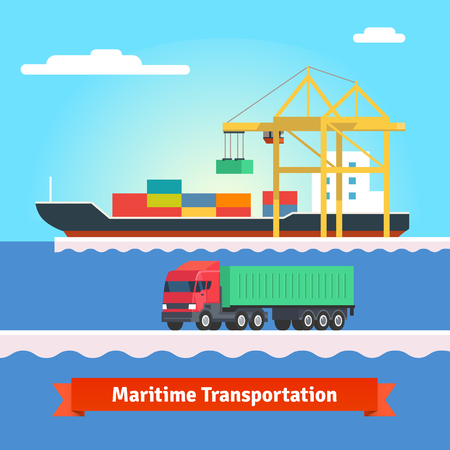 bulk carrier: Big container ship being loaded by huge port crane. Container truck driving in harbour. Flat style vector illustration.