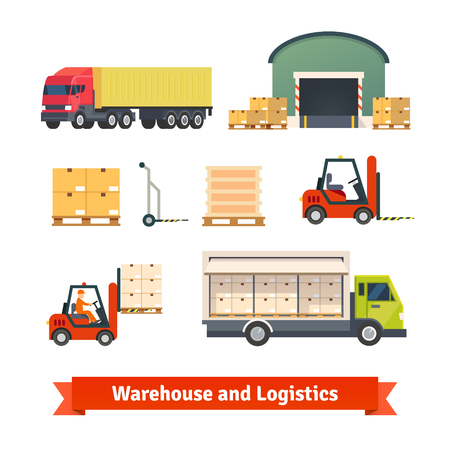 montacargas: Inventario de almacén, logística camión de carga y mercancías entrega de vectores plana conjunto de iconos.