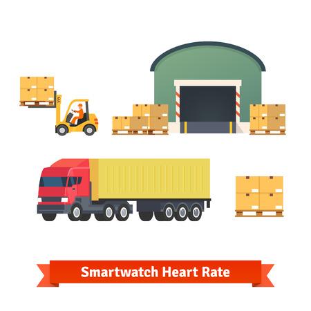 Magazijn, logistiek, vrachtwagen, beladen en goederen levering. Platte vector icon set. Stock Illustratie