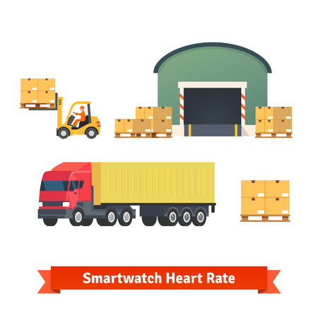 Delivery: Warehouse, logistics, trailer truck, loading cargo and goods delivery. Flat vector icon set.