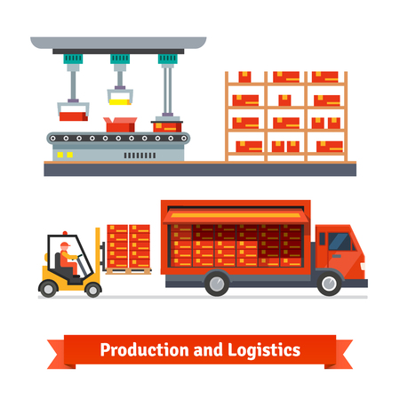 conveyor system: Fully automatic production line and delivery truck being loaded with forklift. Flat vector icons.