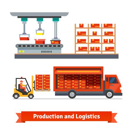 ref: Totalmente línea de producción automática y el camión de reparto que se cargan con la carretilla elevadora. Iconos del vector de planos.