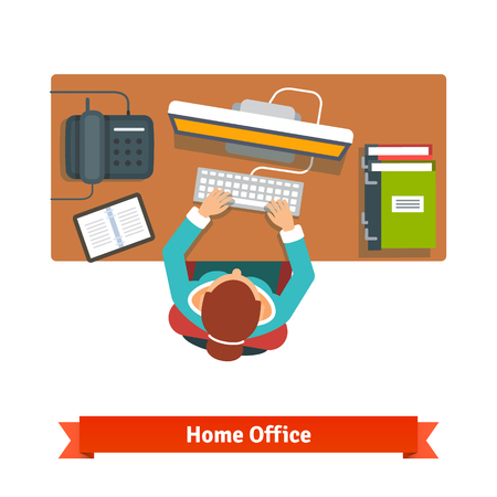 high angle view: Business woman working hard sitting at the desk and typing on the desktop. Illustration