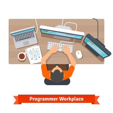 pc icon: Software programmer typing code or debugging.