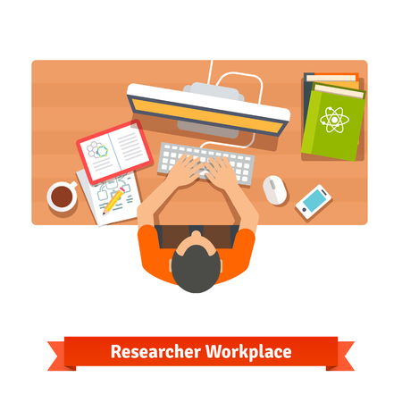 sitting at table: Young student or scientist researching and studying at his home workplace desk.  Illustration