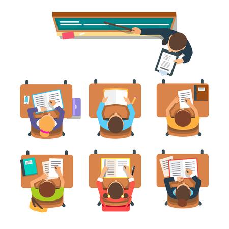 先生は立っていると、教室の机に座っている子供の前で教育黒板を指します。  イラスト・ベクター素材