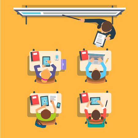 Profesor de pie y apuntando a la enseñanza de la pizarra digital interactiva moderna frente a los niños sentados en las mesas en el aula. Vector plano aislado Ilustración. Ilustración de vector