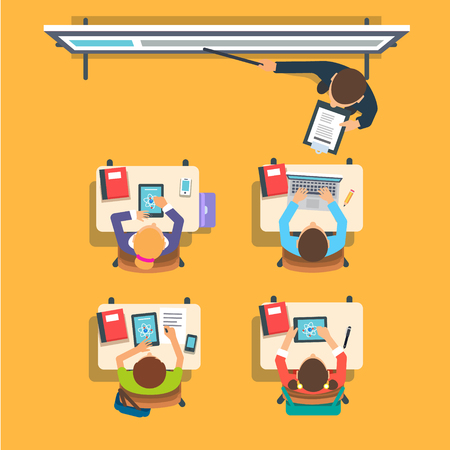 people laptop: Teacher standing and pointing at the modern interactive whiteboard teaching in front of the children sitting at the desks in classroom. Flat vector isolated illustration.