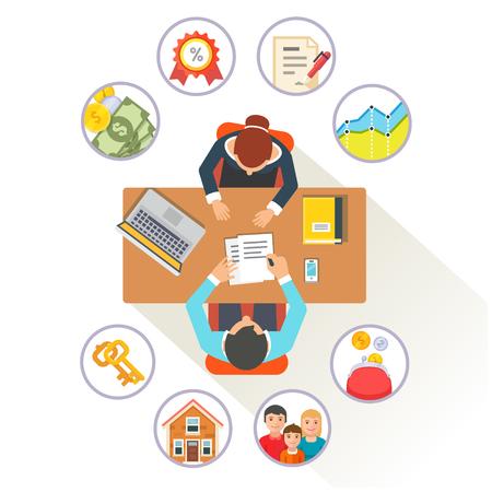 broker: Corredor de bienes raíces o empleado de banco en su escritorio hablando con los clientes acerca de reparto de la casa de crédito hipotecario. Vectores