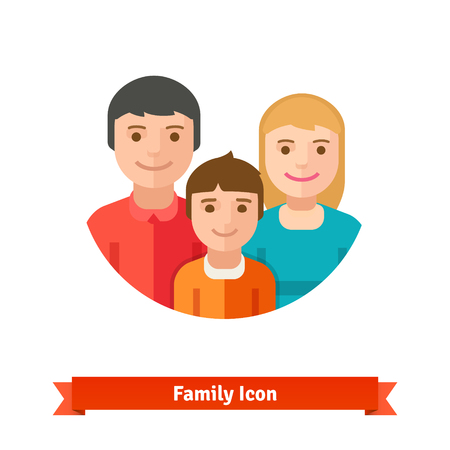 and father: Happy family with child. Flat style vector icon isolated on white background. Illustration