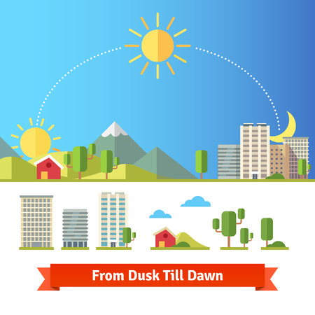 Scenic view of city and rural landscape. All day from dawn and noon till night. Illustration
