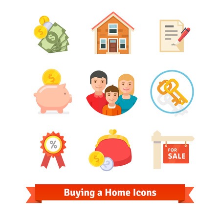 Real estate, house mortgage, loan, buying icons.  Illustration