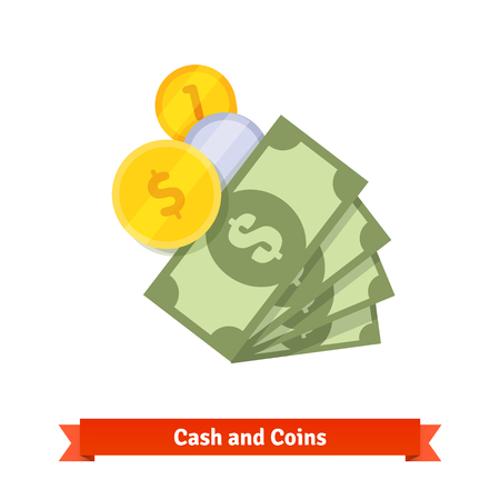 stack of coins: Cash, green dollars, gold and silver coins.  Illustration