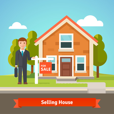 for advertising: Real estate broker agent standing in front of new cozy house with for sale sign. Flat style vector illustration. Illustration