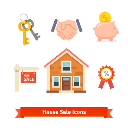 mortgage: Flat style vector icons isolated on white background.