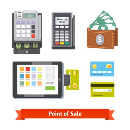 maquina registradora: Conjunto de iconos de pago. Vector de estilo plano aislado en fondo blanco.