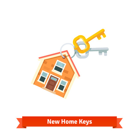 key chain: House key chain symbolizing purchase of a new home or real estate.
