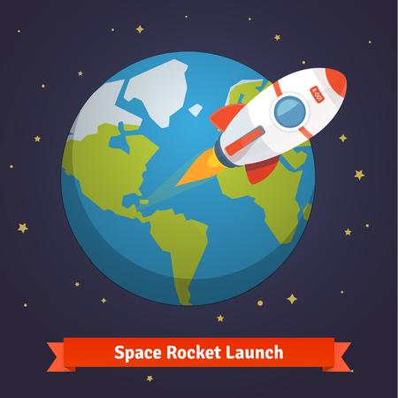 Cartoon ruimteraket verlaten baan om de aarde en gaan in de diepe ruimte.