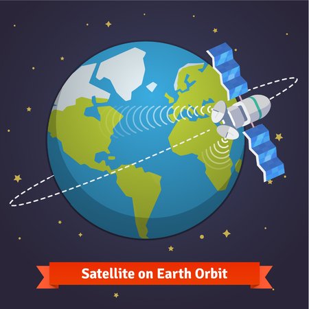 Telecommunication satellite on the earth geostationary orbit in near space.