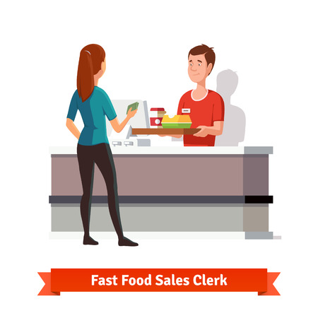 comida rapida: Vendedor de las ventas en el restaurante de comida rápida entrega de una bandeja con la hamburguesa empaquetada un café a un cliente mujer con dinero en mano. Vectores