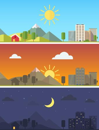 campo: Ciudad y paisaje escénico rural en diferentes momentos del día. Vector vector de estilo plano.